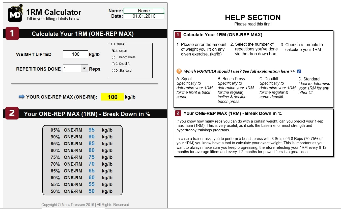 04 – [ONE REP MAX CALCULATOR] How To Create A Workout Plan For Beginners, Men & Women – 1RM Test